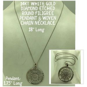 Jewelry - 14KT White Gold L Round Etch Pendant Necklace